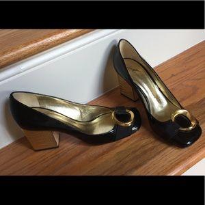 Giuseppe Zanotti crock embossed gold blocks heels